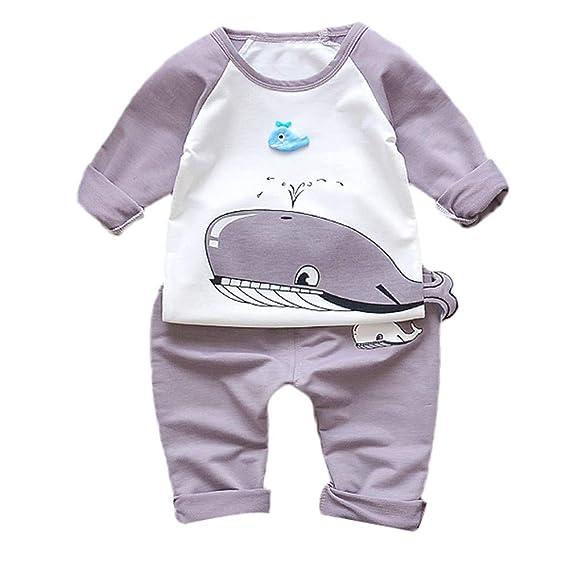 Logobeing Ropa Bebé Recién Nacido Animales Ropa 2 Piezas Manga Larga Camiseta + Pantalones Conjunto de