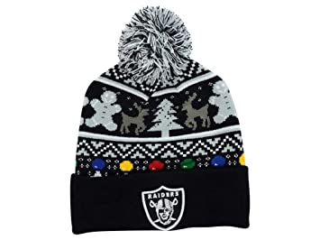 Image Unavailable. Image not available for. Colour  Oakland Raiders   quot Ugly Sweater quot  Beanie Hat with Pom - NFL Cuffed Winter Knit 7af66a722