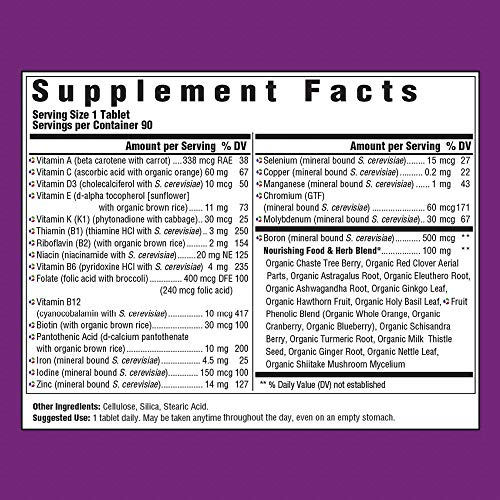 MegaFood - Women Over 40 One Daily, Multivitamin Support for Hair, Skin, Nails, Energy Production, and Hormone Balance with Iron and B Vitamins, Vegetarian, Gluten-Free, Non-GMO, 90 Tablets (FFP) by MegaFood (Image #2)