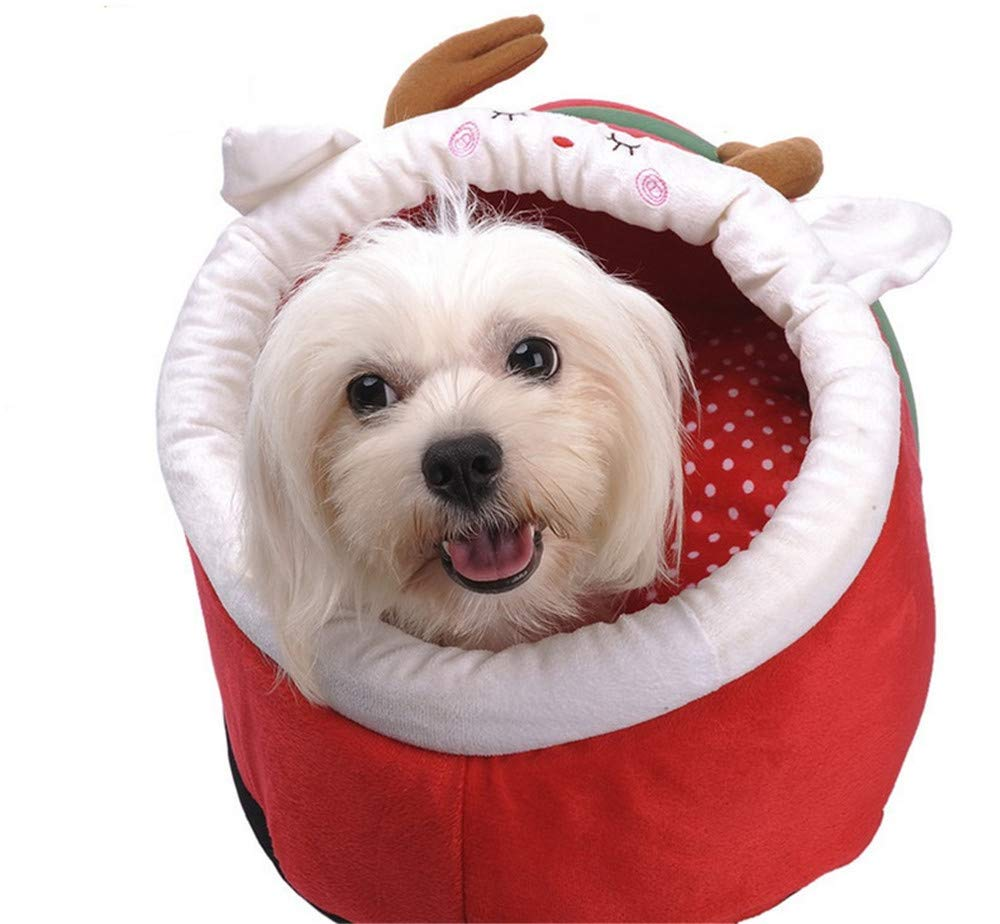 S Wuwenw Pet Beds For Dogs Cats Bedding Detergent Large Medium Pet Dog Bed House Christmas Deer Pattern Winter Warm Soft Cashmere Jubilant AntiSlip Dog Bed 2 Size,S