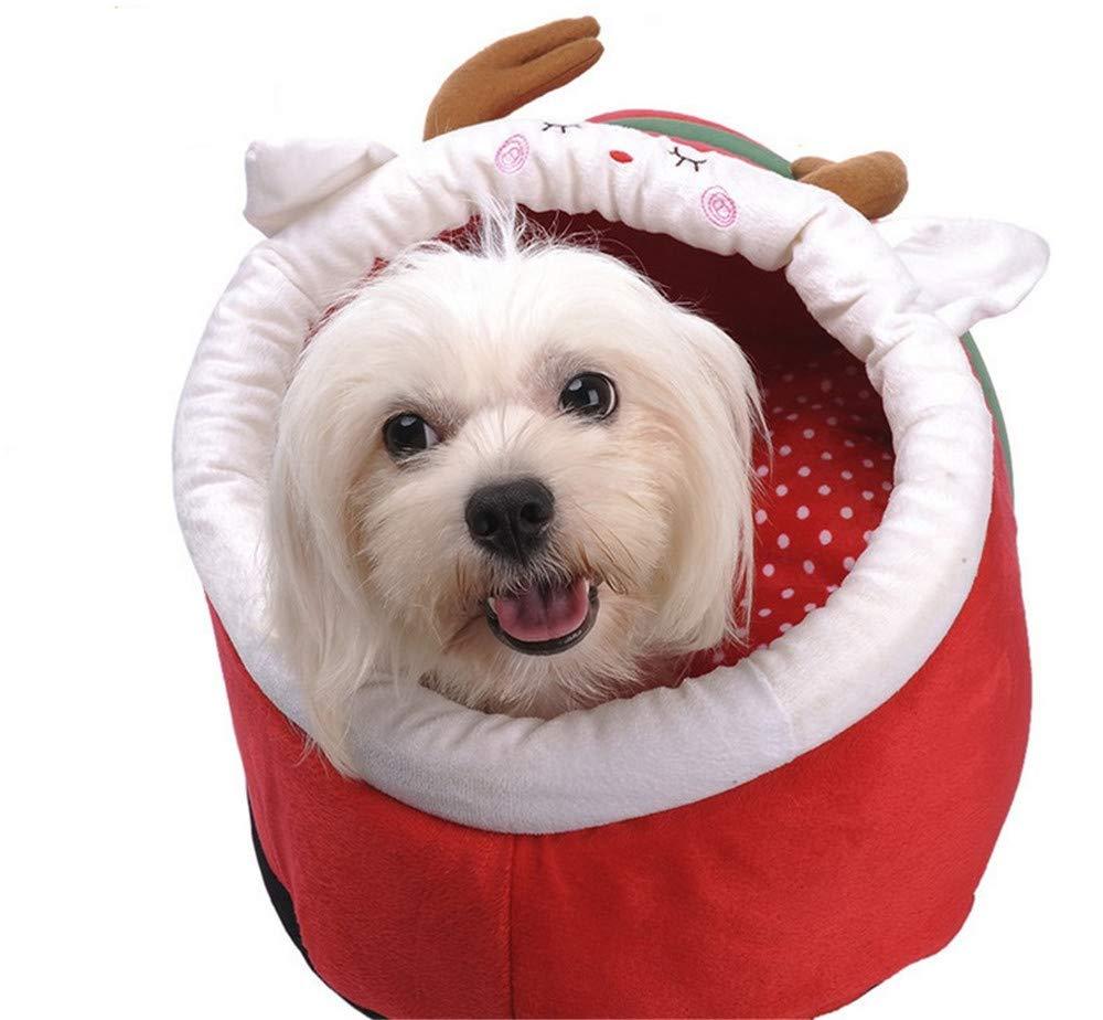 Wuwenw  Mascota Perro Casa Casa Navidad Ciervo Patrón Invierno Cálido Cachemira Suave Jubilant Antideslizante Cama para Perro 2 Tamaño, S