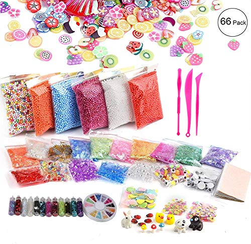 - 66 Pack Slime Kit for Girls Boys Kids, Including Foam Beads, Fishbowl Beads, Shell, Slices, Imitation Gold Leaf, Sugar Paper, Glitter Powders, Confetti, Miniature Animals(Contain No Slime)
