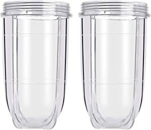 Replacement 16 Ounce Tall Jar Cups, Blender Replacement Parts, 2 Pack Replacement Tall Mug Jar Cups Compatible with Magic Bullet Blender Juicer Mixer 250W MB1001 Accessories