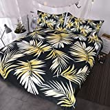 BlessLiving Palm Tree Bedding Modern Black White Gold Duvet Cover 3 Piece Elegant and Chic Tropical Bedspread for Girls Women (King)