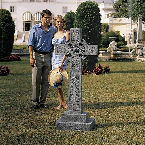 Design Toscano Full-Size Chisholm Highland Celtic Cross Statue - Scottish Cross Statue - Memorial Statue -