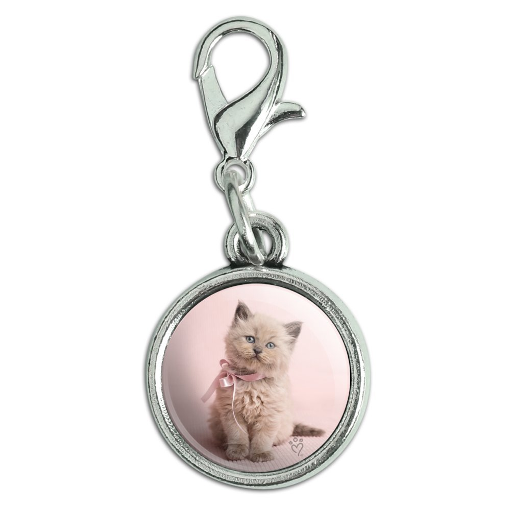 GRAPHICS /& MORE Miradoll Ragdoll Cat Kitten Pink Ribbon Bow Antiqued Bracelet Pendant Zipper Pull Charm with Lobster Clasp