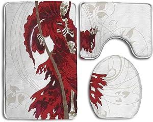 NEWcoco Gothic Illustration of Skeleton Grim Reaper Dead Farmer Skull with Hood Danger Evil Bathroom Rug 3 Piece Bath Mat Set Contour Rug and Lid Cover