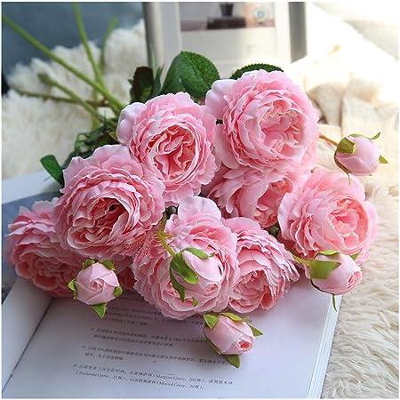 Xlgx Scelet Artificielle Soie Rose Pivoine Fleur Longue Tige Faux Fleurs Maison Jardin Partie De Mariage Décoration Diy Bouquet Rose