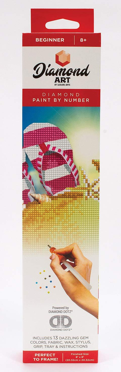 Diamond Art By Leisure Arts DMA50447 Kit 8x8 Beginner Flip Flops