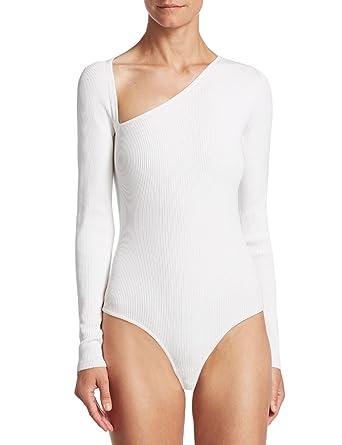 93a1dddc2b3 May&Maya Women's Asymmetry Cut Long Sleeves Bodysuit Bodice Tops Shirt  Blouse (White, ...
