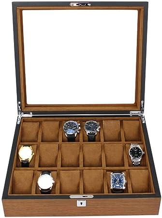 GOVD Caja para Guardar Relojes Madera Estuche para Guardar Relojes con Almohadillas Extraíbles, para Relojes 18: Amazon.es: Hogar