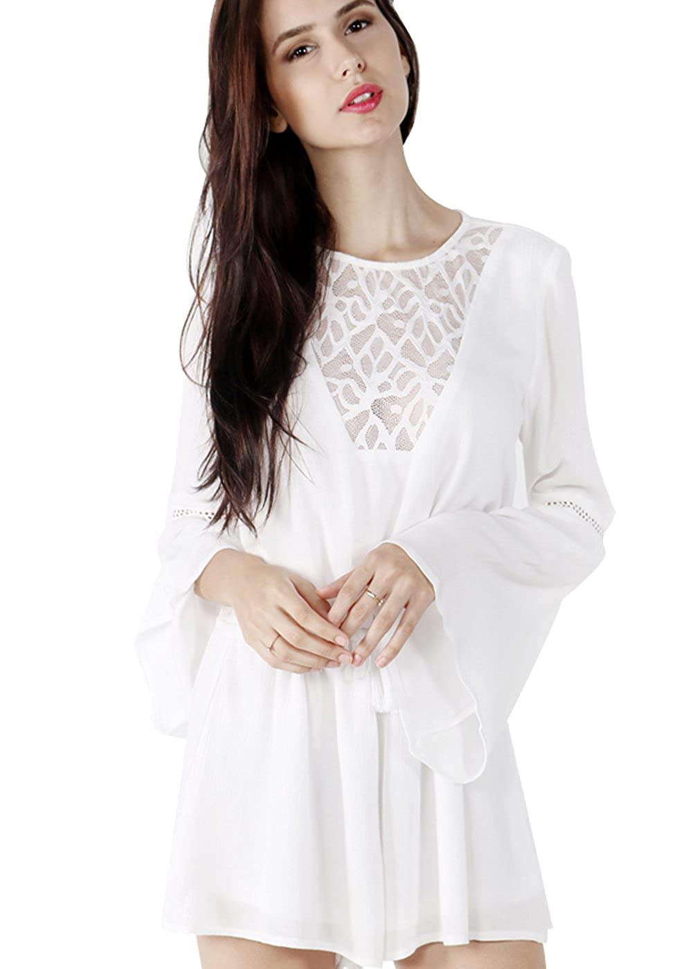 245cf8867bd Amazon.com  Wink Gal Women Autumn Flare Long Sleeve Crochet Playsuit   Clothing