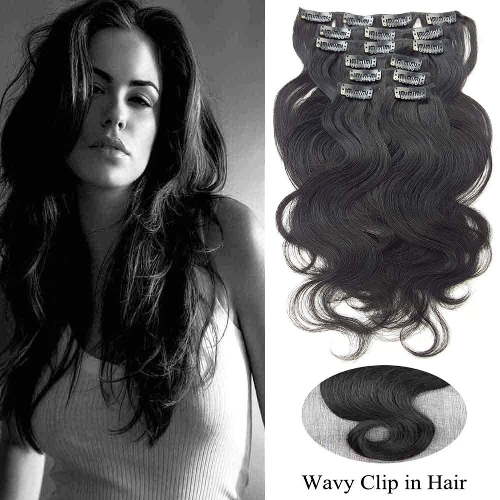 Amazon Showjarlly Jet Black Clip In Human Hair Extensions For