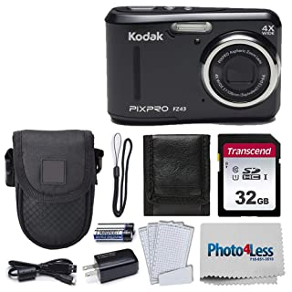 Kodak PIXPRO Friendly Zoom FZ43 16 MP Digital Camera with 4X Optical Zoom and 2.7 LCD Screen (Black) + Black Point & Shoot Case + Transcend 32GB UHS-I U1 SD Memory Card& More!