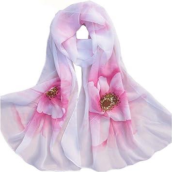 Amazon.com: Mujer Suave Delgada gasa pañuelo de seda ...