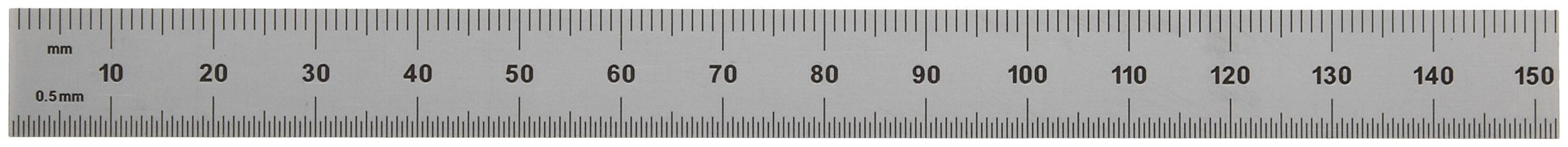 Mitutoyo 182-205, Steel Rule, 6'' X 150mm, (1/32, 1/64'', 1mm, 1/2mm), 1/64'' Thick X 1/2'' Wide, Satin Chrome Finish Tempered Stainless Steel by Mitutoyo (Image #2)