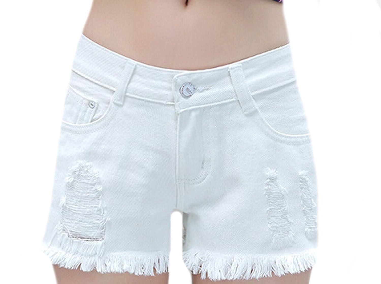 Unko Womens Casual Ripped Tassel Trim White Denim Shorts