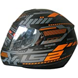 S.L Ls2 Ff352-Xl Full Face Helmet,Tron Matt Black Orange,Xl
