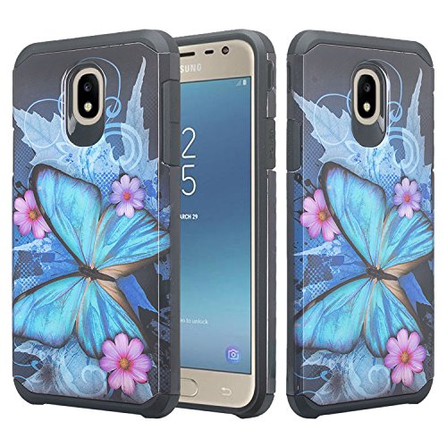 Butterfly Phone Cover - Galaxy J3 Orbit Case/J3 Star Case/J3 2018/J3 Achieve/J3v 3rd Gen/Express Prime 3/Amp Prime 3 Case Shock Proof Cute Cover Girls Women Phone Case Compatible for Samsung J3 Orbit Cases (Blue Butterfly)