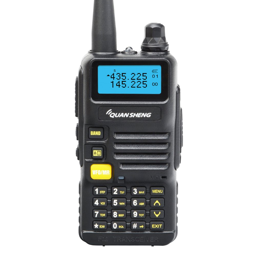 Quansheng UV-R50 Rechargeable Dual Band Two Way Radio Long Range Walkie Talkie 5W FM Transceiver with Headset (Black)