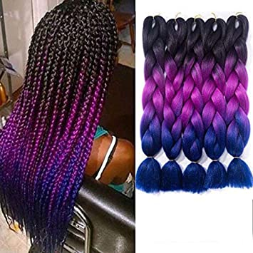 Ombre Braiding Hair Kanekalon Synthetic Braiding Hair Extensions Black Purple Blue Jumbo Braids 24inch 5pcs Lot Beauty