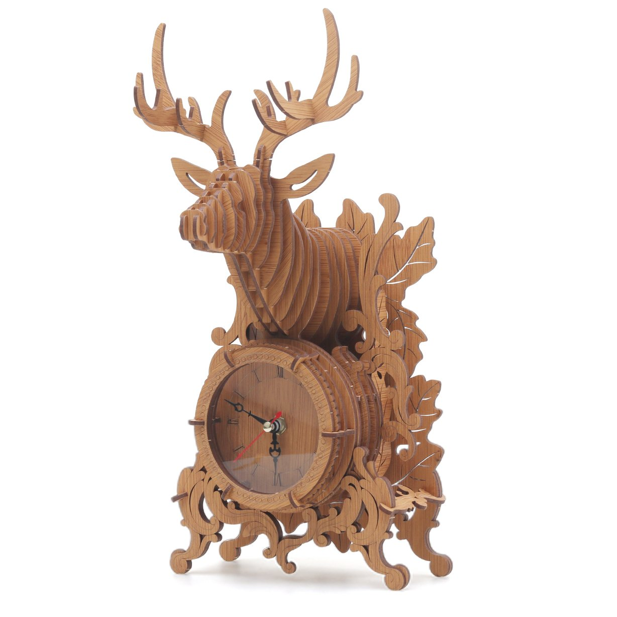 Amy & Benton 3D Wooden Puzzles Reindeer Desk Clock--52 Jigsaw (Dark)