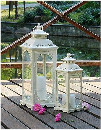 Aomerrt 1 Pieza Metal huracán Linterna decoración jardín luz Boda Vela Linterna decoración Patio lámpara estándar Vidrio Camino iluminación, Negro: Amazon.es: Hogar