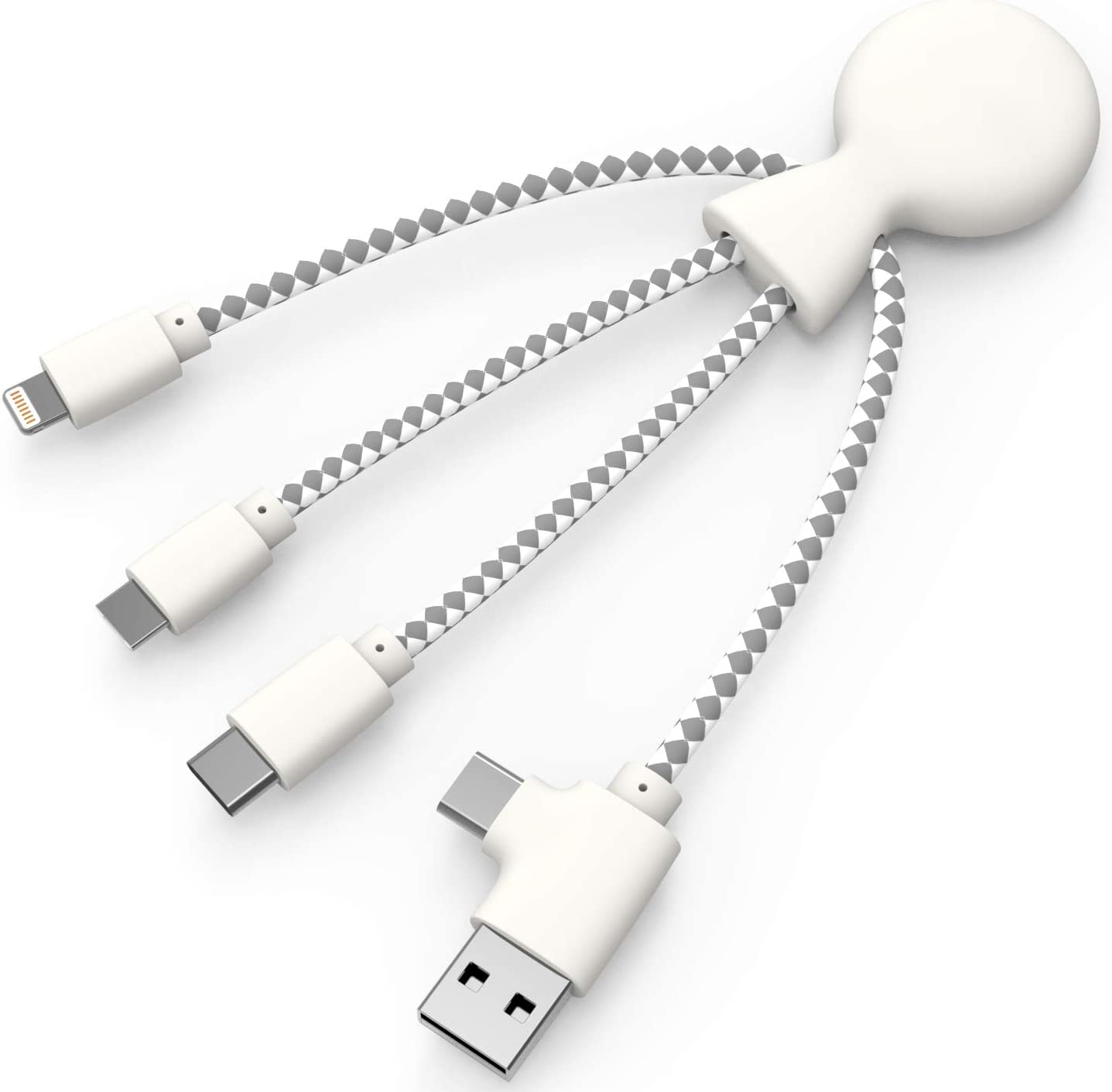 Dual-Power in Organic Wheat White Universal Charging Multi Tip Cable for Smartphones Mr Bio Eco-Friendly