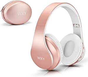 Over Ear Bluetooth Headphones, WXY Girls Wireless Headset V5.0 with Built-in Mic, Micro TF, FM Radio, Soft Earmuffs & Lightweight for iPhone/Samsung/PC/TV/Travel(Rose Gold)