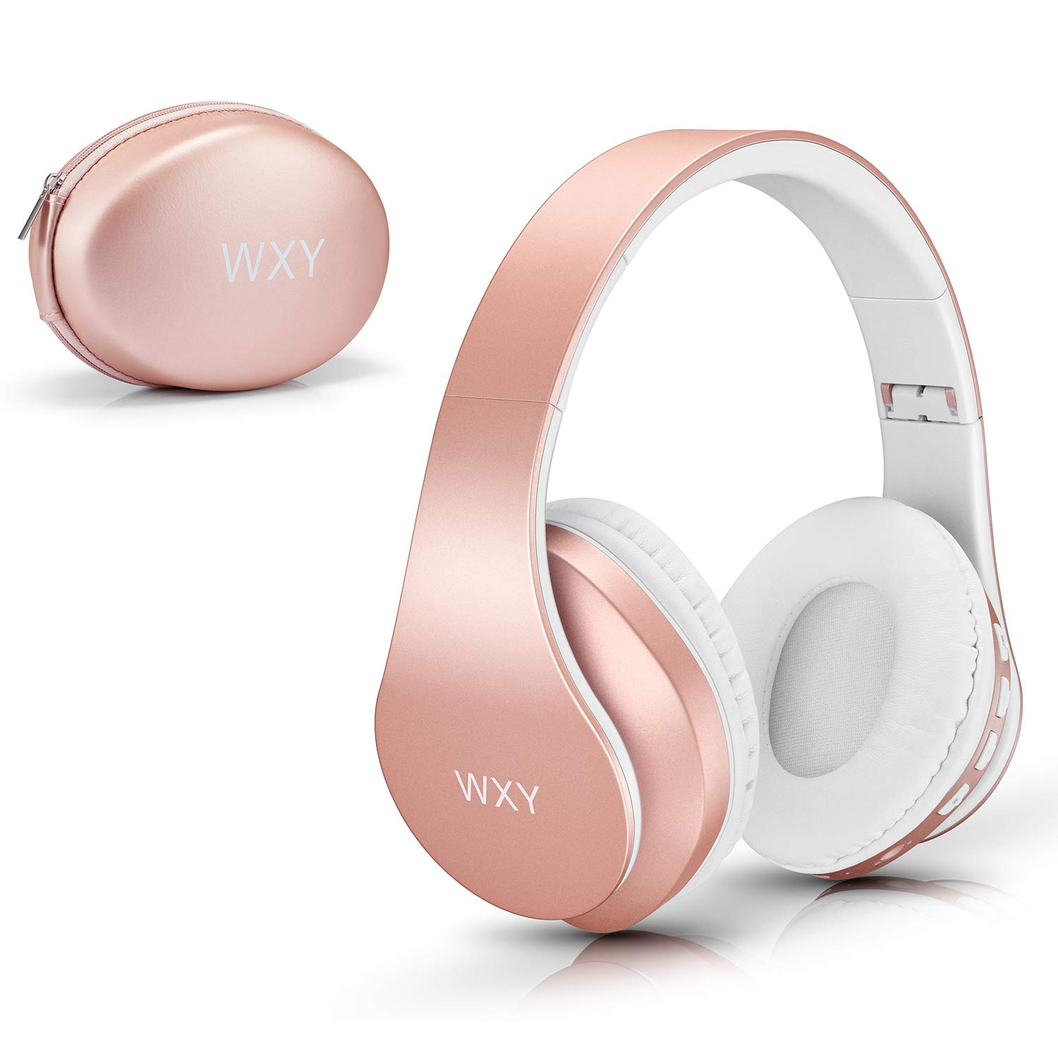 Over Ear Bluetooth Headphones, WXY Girls Wireless Headset V5.0 with Built-in Mic, Micro TF, FM Radio, Soft Earmuffs & Lightweight for iPhone/Samsung/PC/TV/Travel(Rose Gold) by WXY