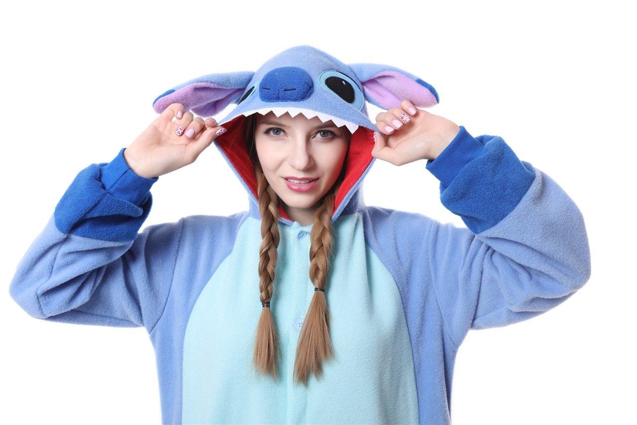 297e7fa2806 Disfraces y accesorios Enterizo XL de franela de invierno para la práctica  de una pieza Unisex azul pijama Stitch ...