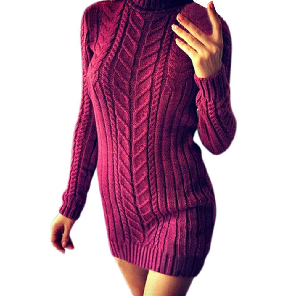 Ninasill Women Knitting Dress Solid Sweater Skirt Turtleneck Dress Ninasill_Dress ZC-1004