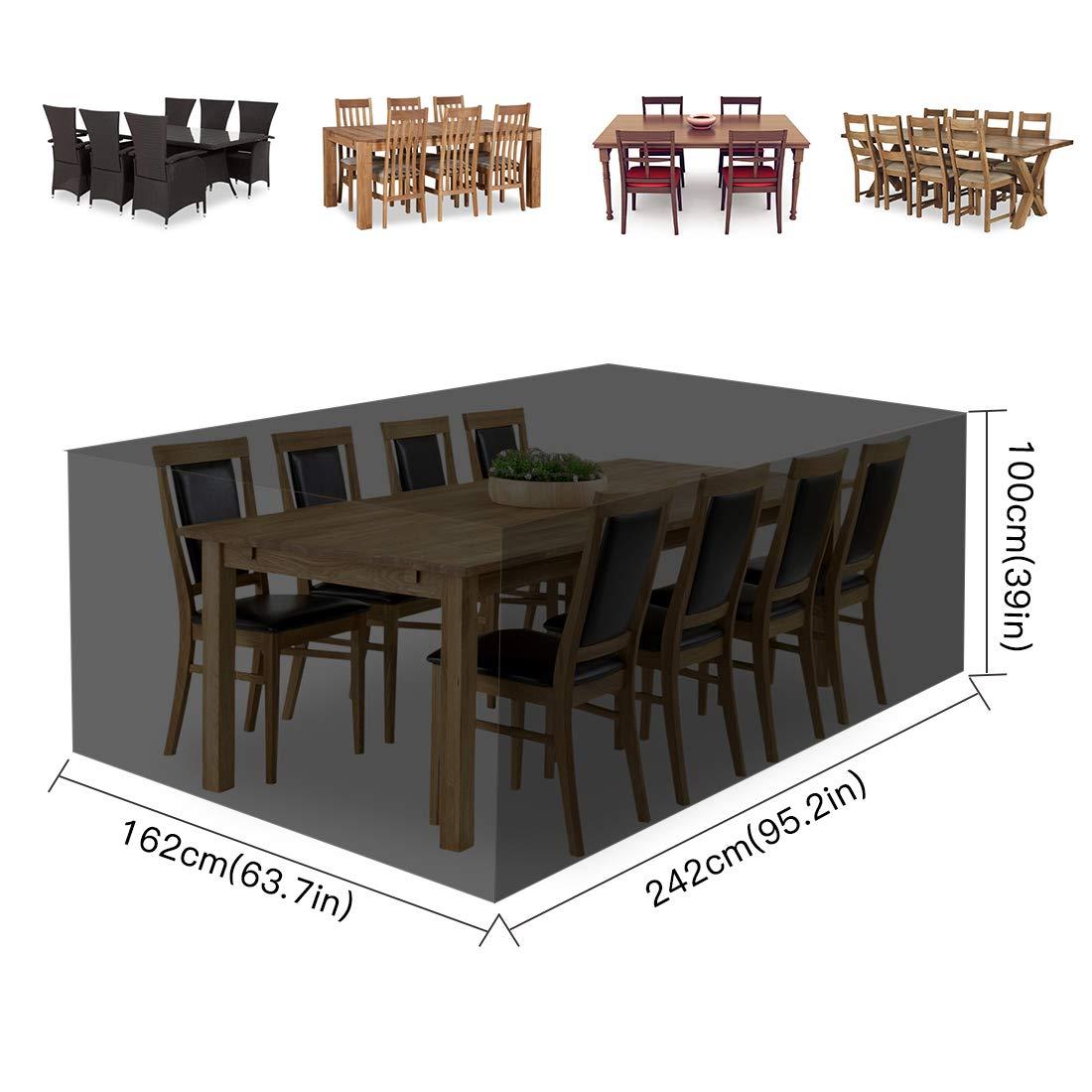 242 x 162 x 100 cm wasserdicht Fayttoli Schutzh/ülle f/ür Gartenm/öbel Gartenm/öbel f/ür Tisch und Stuhl Schwarz Abdeckplane aus Oxford-Gewebe 420D