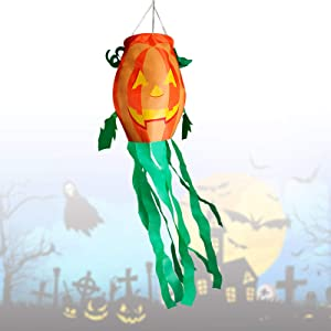 Halloween Windsocks Flag Pumpkin Windsock Fall Happy Halloween Decoration Banner Horror Scary Windsock Flag Ghost Tree Hanging Decoration for Wall Tree Front Yard Patio Lawn Garden Party Decor 54 Inch