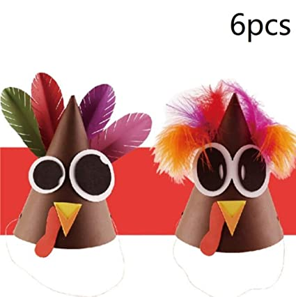 Amazon Com 6 Pack Turkey Craft Kit Feather Thanksgiving Diy Paper