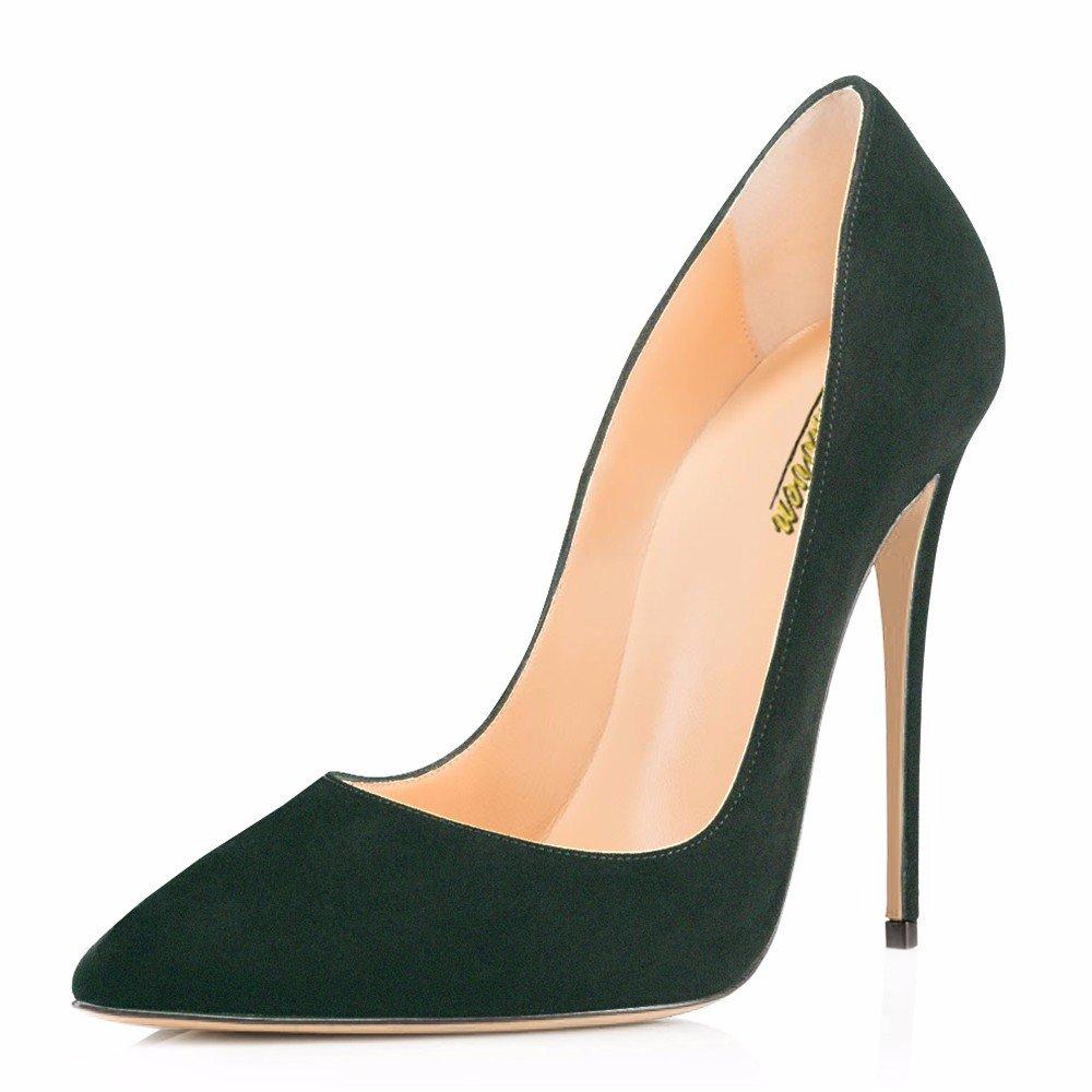 Modemoven Women's Pointy Toe High Heels Slip On Stilettos Large Size Wedding Party Evening Pumps Shoes B0773PHLZR 12 B(M) US|Dark Green Suede