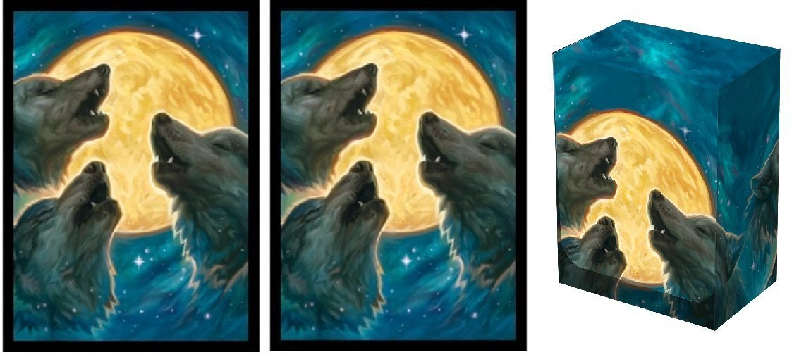 Legion 3 WOLF MOON Deck Box + 100 Matching DOUBLE Matte Finish WEREWOLF Sleeves (fits Magic / MTG, Pokemon Cards)