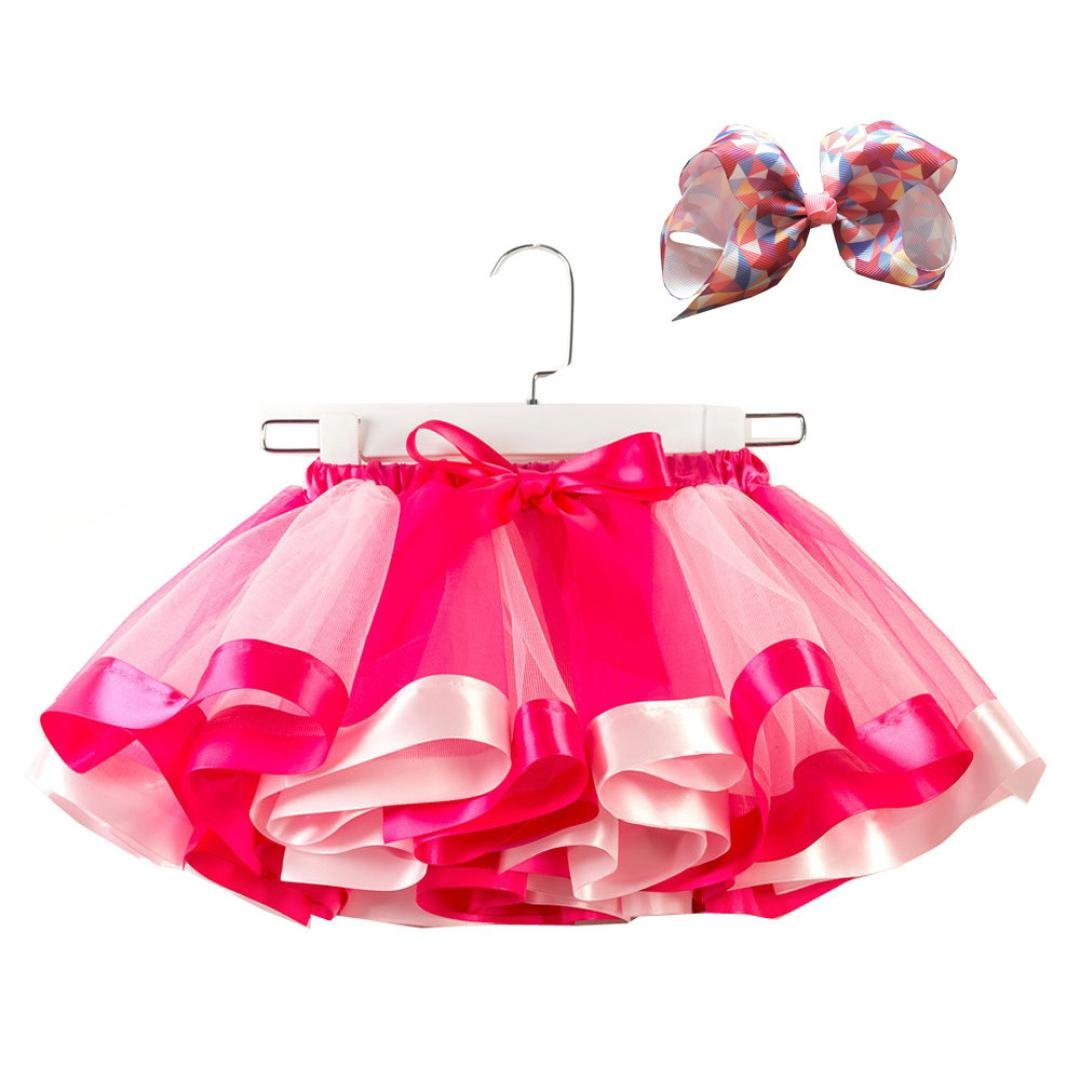 Xshuai for 2-11 Years Old Kids, Fashion Kids Girls Tutu Tulle Party Dance Ballet Skirt Toddler Baby Rainbow Costume Skirt +Bow Hairpin Set