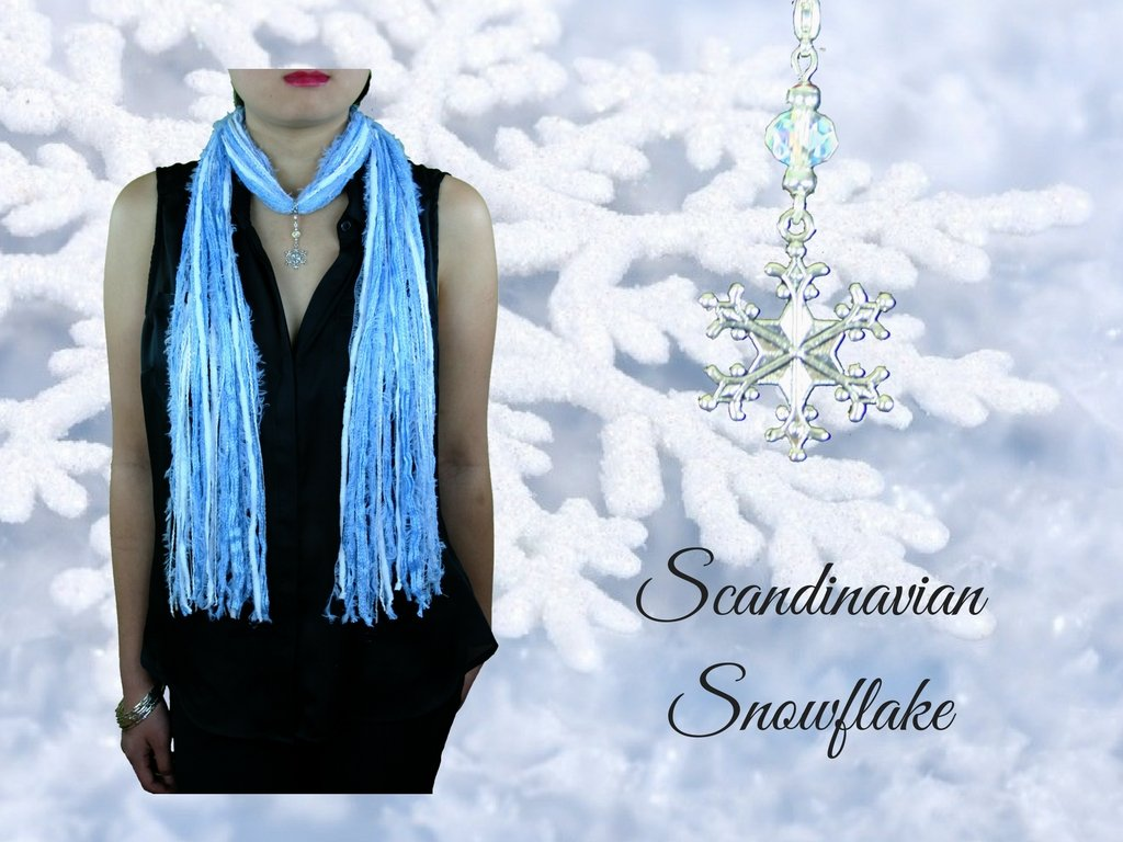 Silver Snowflake Winter Holiday Scarf Necklace in Beige Blue Black White ~ Exquisite Snowflake Collection Scandinavian Snowflake