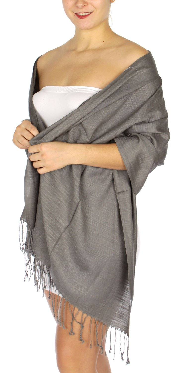 Pashmina Shawls Wraps, for women, summer wedding scarf, linen touch 22 Grey