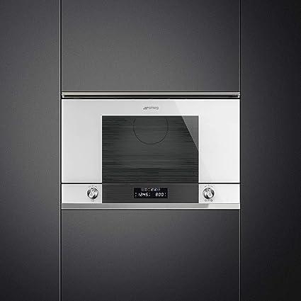 Smeg MP122B1 - Microondas con parrilla integrada (22 L, 850 W), color blanco y acero inoxidable: Amazon.es: Grandes electrodomésticos