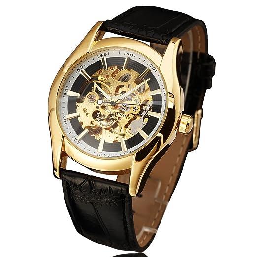 Winner Reloj Royal Carving automático negro correa de piel fina funda Hollow esqueleto funda relojes hombres marca de lujo reloj hombres: Amazon.es: Relojes