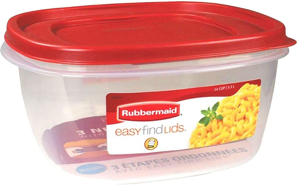 Rubbermaid 2049369 14-Cup Square Container with Red Racer Lid
