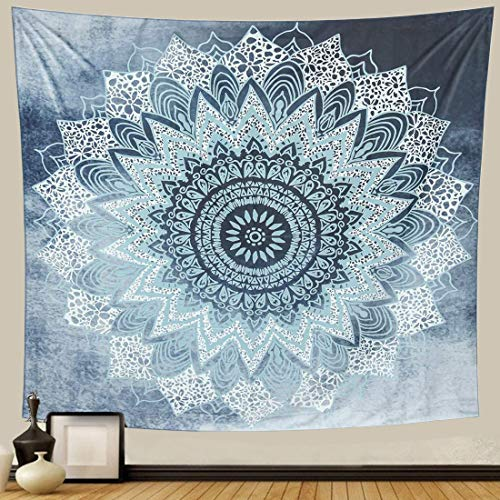 GetALift Tapestry Wall Hanging Teal Mandala tapestries Home Decoration for Bedroom Living Room 59.1x59.1 Inch