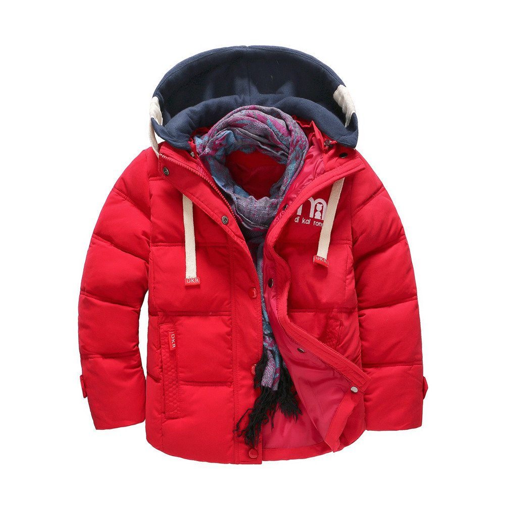 Moonper Children Down Jacket, Boy Winter Thicken Filling Cotton Coat Hooded Zipper Windproof Detachable Cap