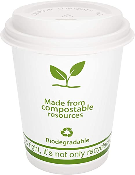 FEEDMI Paper Coffee Cups with Lids 100% Compostable Eco friendly 12 oz PLA Lined Hot Cups 100 pcs