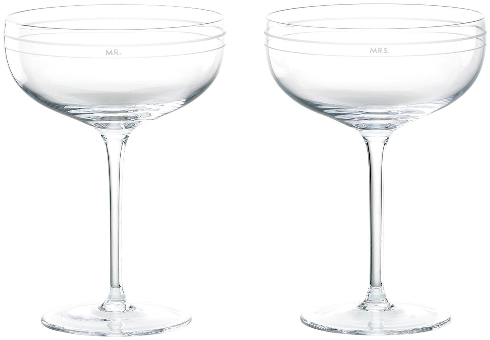 Kate Spade New York Darling Point Mr. and Mrs. Crystal Saucer Champagne Glasses, Pair