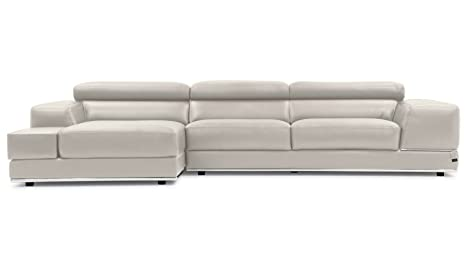 Amazon.com: Zuri Furniture Encore Light Gray Leather Sofa ...
