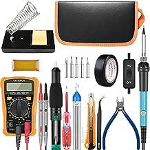 Soldering Kit,Soldering Iron Kit 60W 110V with Temperature Welding Tool,Digital Multimeter,5pcs Soldering Iron Tips,Tweezers,Rosin,Soldering Iron Stand
