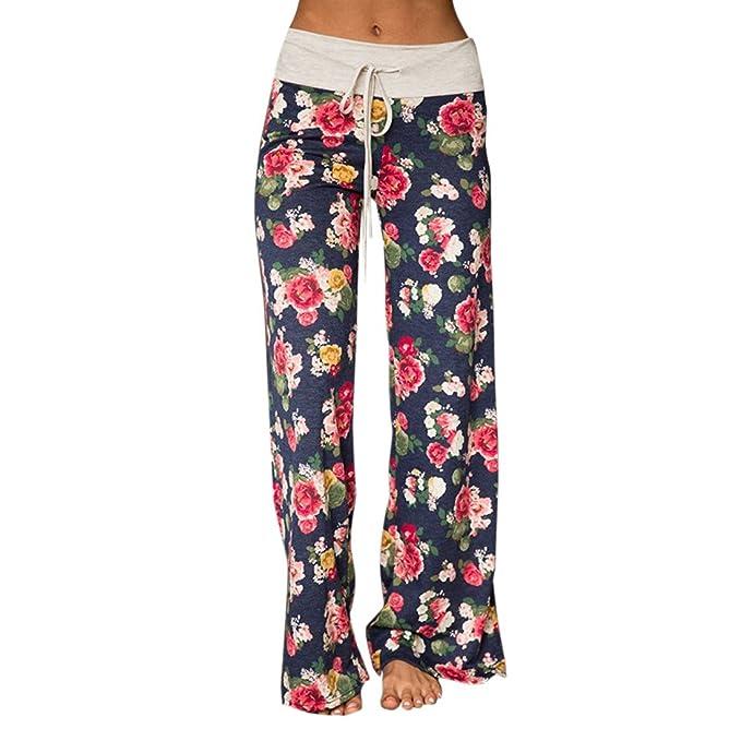 Mujer Pantalones Anchos de Pierna Pantalón Floral Impreso Suave Yoga Fitness Deportes Tallas Grandes S-3XL Azul 3XL